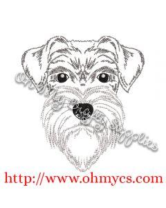 Sketch of Schnauzer Embroidery Design