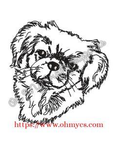 Sketch Pekingese Embroidery Design