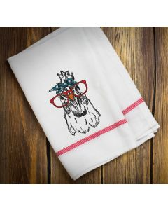 Rooster with Bandana and Glasses Sketch Embroidery Design