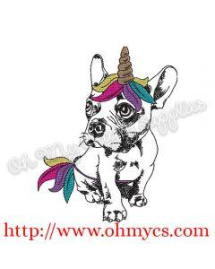 Sketch Unicorn Puppy Embroidery Design