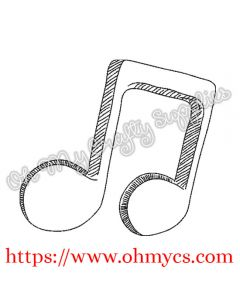 Sketchy Music Note  Embroidery Design