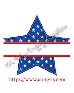 Split Star Applique Embroidery Design