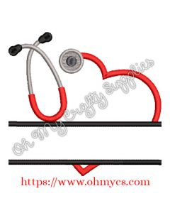 Split Stethoscope Embroidery Design