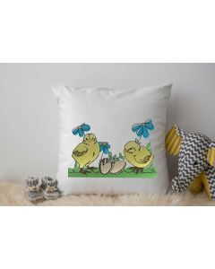 Spring Chicks with Flowers Embroidery Design