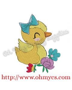 Spring Floral Duck Embroidery Design