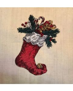 Christmas Stocking Colored Sketch Embroidery Design