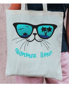 Summer Time Cat Embroidery Design