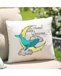 Watercolor Sweet Dreams Whale Embroidery Design