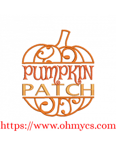 Pumpkin Patch Swirl Embroidery Design