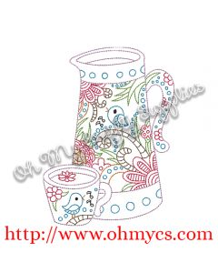 Teapot set embroidery design