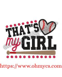 That's my Girl Baseball Embroidery Design