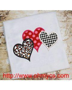 Trio Heart Embroidery Applique