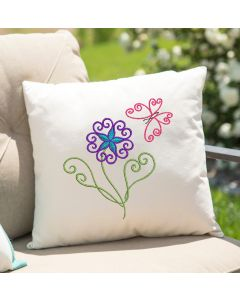 Twisted Flower with Butterfly Embroidery Design