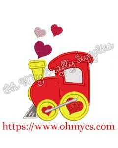 Valentine Heart Train Applique Design
