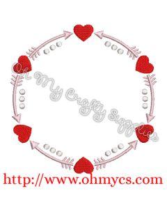 Valentine Monogram Circle Embroidery Design