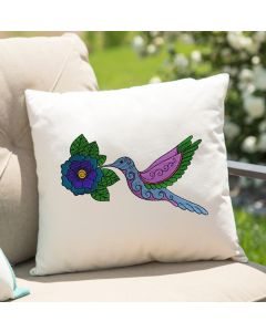 Watercolor Henna Flower Hummingbird Embroidery Design