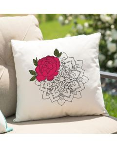 Watercolor Henna Rose Embroidery Design