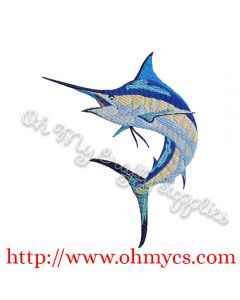 Watercolor Marlin Embroidery Design