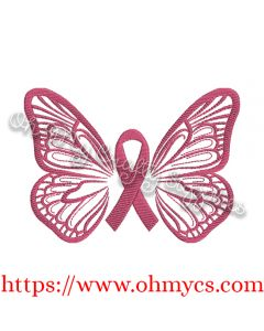 Watercolor Hope Butterfly Awareness Ribbon Embroidery Design