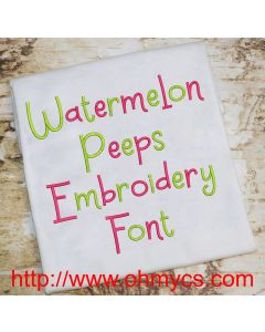 Watermelon Peeps Embroidery Font (BX Included)