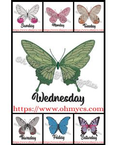 Weekday Butterflies Embroidery Designs