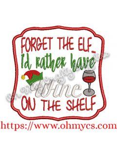 Wine On The Shelf Embroidery Design