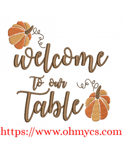 Welcome to Our Table Embroidery Design