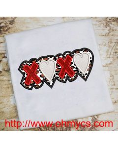 X Heart X Heart Embroidery Applique